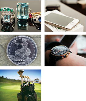 jewelry, electronics, coins, watches and sports