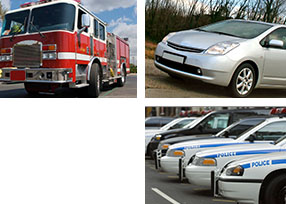 fire truck, car, police cars