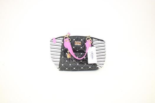 Betsey Johnson Black, White, Pink Satchel Bag