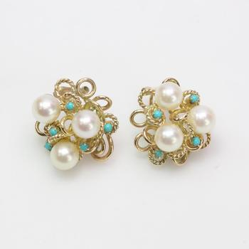 10k Gold 10.60g Earrings With Pearls And Blue Stones