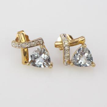 10k Gold 1.6g Earrings With Diamond Accents And Blue Stone