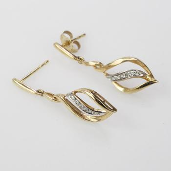 10k Gold 1.78g Earrings With Diamond Accents