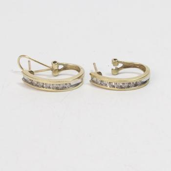 10k Gold 2.67g Earrings With Clear Stones