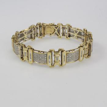 10k Gold 27.67g Bracelet With Clear Stones