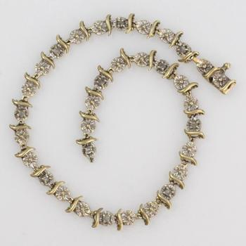 10k Gold 3.21g Bracelet With Clear Stones