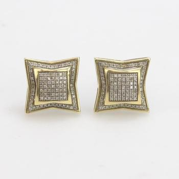 10k Gold 3.41g Earrings With Clear Stones