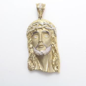 10k Gold 53.11g Religious Pendant With Clear Stones