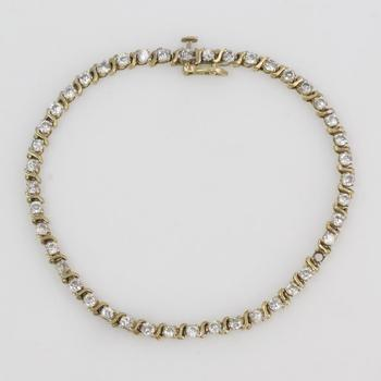 10k Gold 5.36g Bracelet With Clear Stones