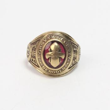 10k Gold 8.65g Class Ring With Red Stone