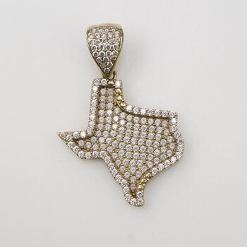 10k Gold Clear Stone Texas Pendant 4.1g