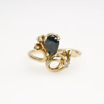 10k Gold Diamond Blue Stone Ring