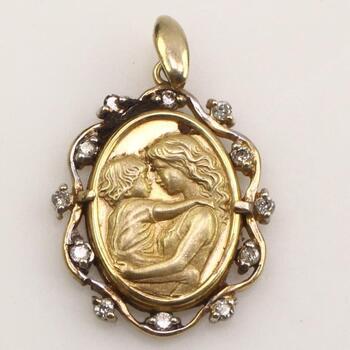 10k Gold Diamond Mother Child Pendant