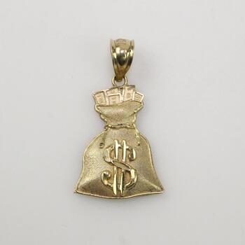 10k Gold Money Bag Pendant 2.8g