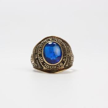 10k GP Blue Stone Class Ring 12.8g