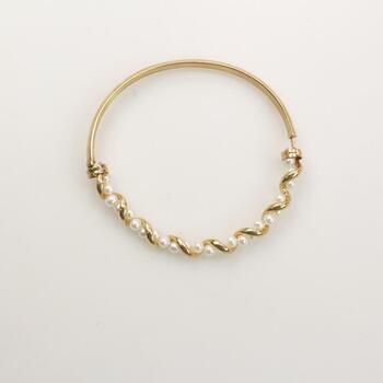 10k Pearl Bangle Bracelet