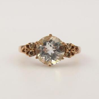 10k Rose Gold Clear Stone Ring
