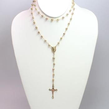10k Tricolored Gold 14.58g Rosary Necklace