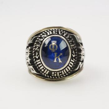 10k White Gold Blue Stone Class Ring