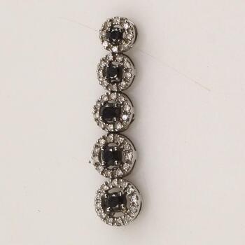 10k White Gold Diamond Black Stone Pendant