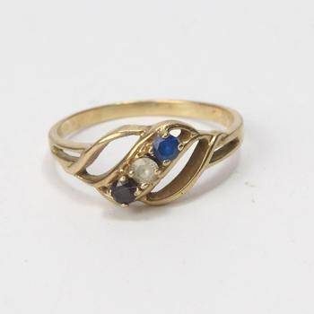 10kt Gold 1.7g Ring With Multi-colored Stones