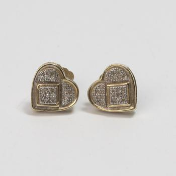 10kt Gold 1.87g Pair Of Heart Shaped Earrings With Clear Stones