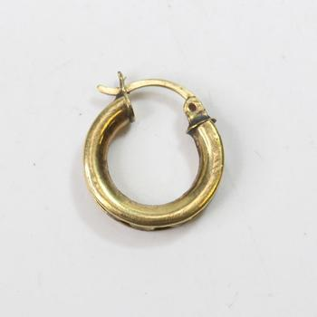 10kt Gold 1.8g Hoop Earring With Clear Stones