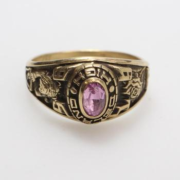 10kt Gold 4.6g Class Ring With Pink Stone