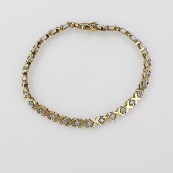 10kt Gold 7.12g Bracelet With Diamond Accents