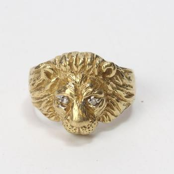 10kt Gold 7g Lion Head Ring With Diamonds