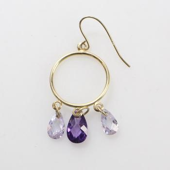 10kt Gold .87g Earring With Purple And Clear Stones