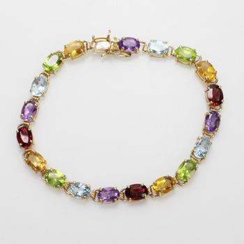 10kt Gold 9.23g Bracelet With Multicolored Stones