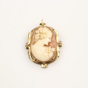 10KT Gold Cameo Pendant
