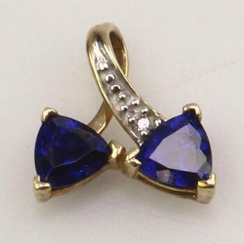 10KT Gold Diamond And Blue Stone Pendant
