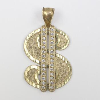 10kt Gold Dollar Sign Pendant
