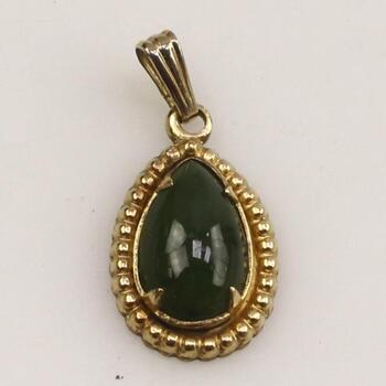 10KT Gold Filled Green Stone Pendant