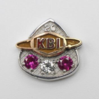 10kt Gold With Ruby And Diamond Accents