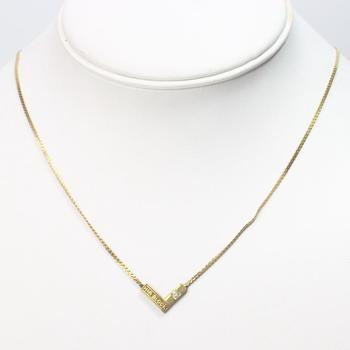 "10kt GP 3g ""H&R Block"" Necklace With Diamond"