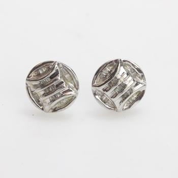 10kt White Gold 2.12g Pair Of Earrings With Diamond Accents