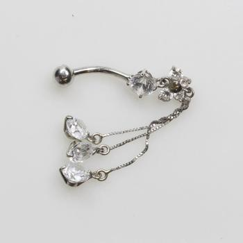 10kt White Gold 2.8g Belly Button Ring With Clear Stones