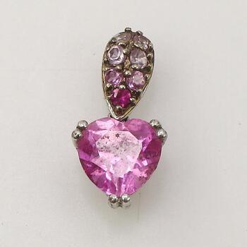 10KT White Gold Pink Heart Stone Pendant