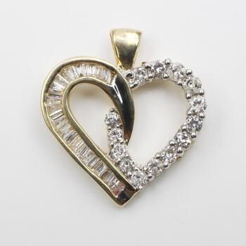 1.23ct TW Diamond 14k Gold Pendant - Evaluated By Our Graduate Gemologist (GIA)