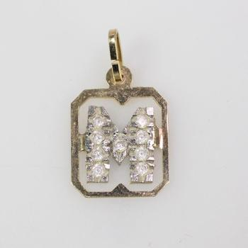12k Gold 0.84g Pendant With Clear Stones