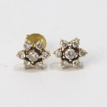 12k Gold 2.14g Earrings With Diamonds