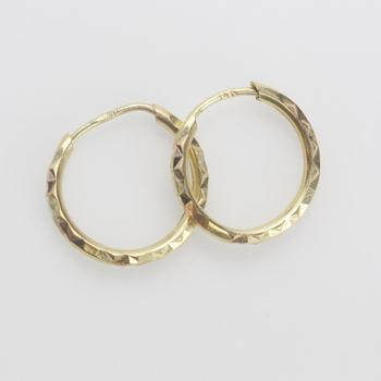 12kt Gold 0.88g Pair Of Hoop Earrings