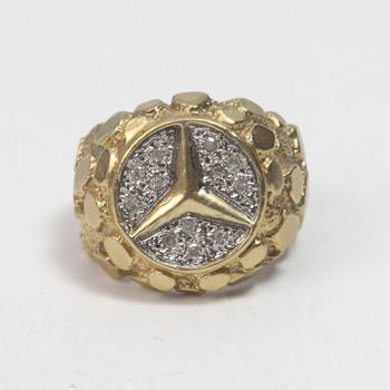 12kt Gold 12g Ring With Diamonds