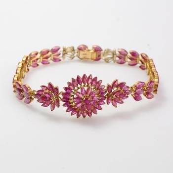 12kt Gold 16.70g Bracelet With Pink Stones
