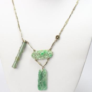 12kt Gold 25.8g Necklace With Green Stones