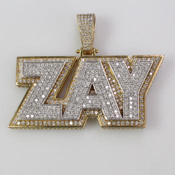 12kt Gold 40.61 'Zay' Pendant With Diamond Accents