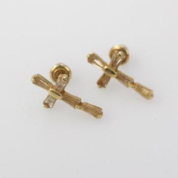 13k Gold 0.68g Cross Earrings With Clear Stones