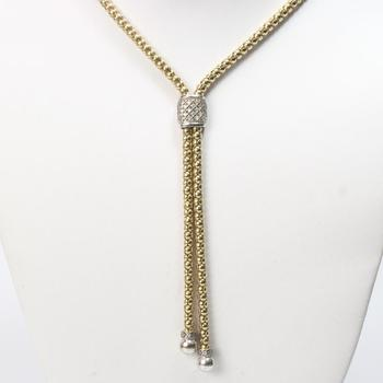 13k Gold 24.34g Bolo Tie Style Necklace With Clear Stones